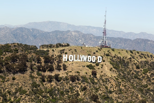 The Hollywood sign, a landmark and American cultural icon located in Los Angeles, California