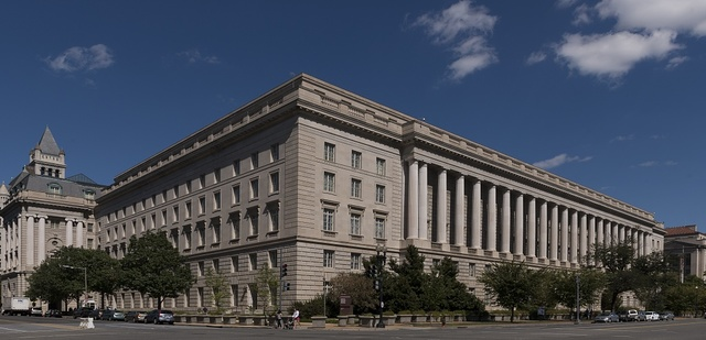 The Internal Revenue Service Building, located in the center of the Federal Triangle complex in Washington, D.C.