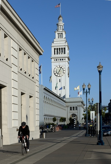 The San Francisco Ferry Building, a terminal for ferries, a marketplace, and offices is located on The Embarcadero in San Francisco, California
