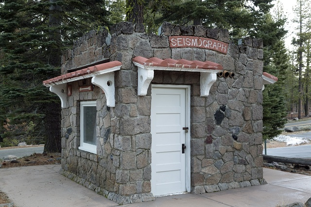 The stone seismograph hut at Lassen Volcanic National Park in Shasta and Lassen counties, California