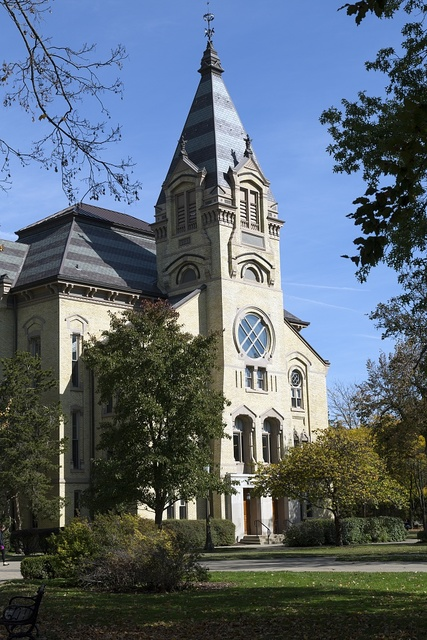The University of Notre Dame, a Catholic research university located in Notre Dame, an unincorporated community north of the city of South Bend, in St. Joseph County, Indiana