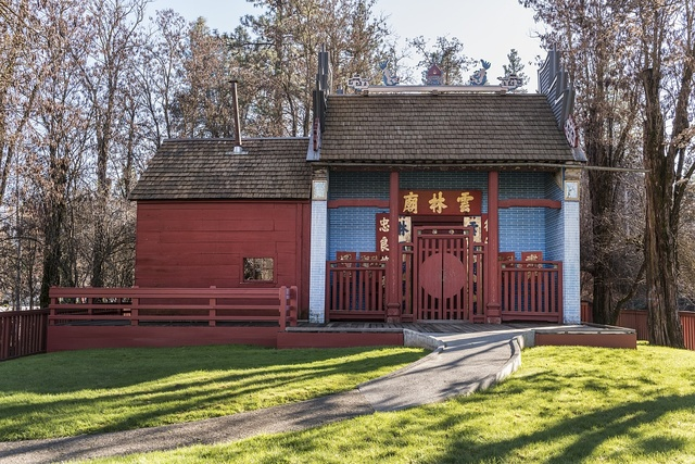 The Weaverville Joss House, or temple, now a California State Historic Park, in Weaverville, a popular tourist destination in the Whiskeytown-Shasta National Recreation Area, northwest of Redding, California