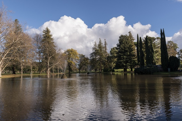 Tranquil lake scene in Land Park, near the zoo and Fairytale Town theme park in Sacramento, California's capital city