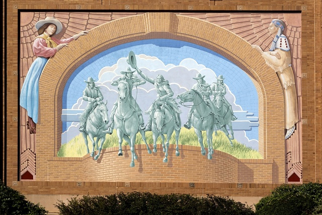 Trompe l'oeil mural by artist Richard Haas outside the National Cowgirl Museum and Hall of Fame in Fort Worth, Texas
