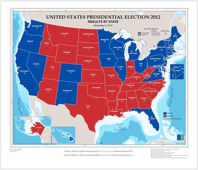 United States presidential election 2012, results by state, November 6, 2012 /