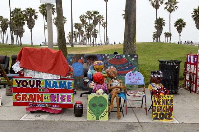 Vendor stands in Venice, a beachfront district on the Westside of Los Angeles, California