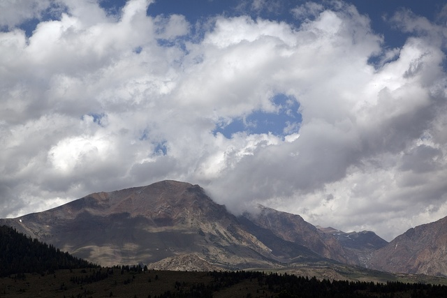 View of mountain range along Route 395 near Yosemite National Park in California