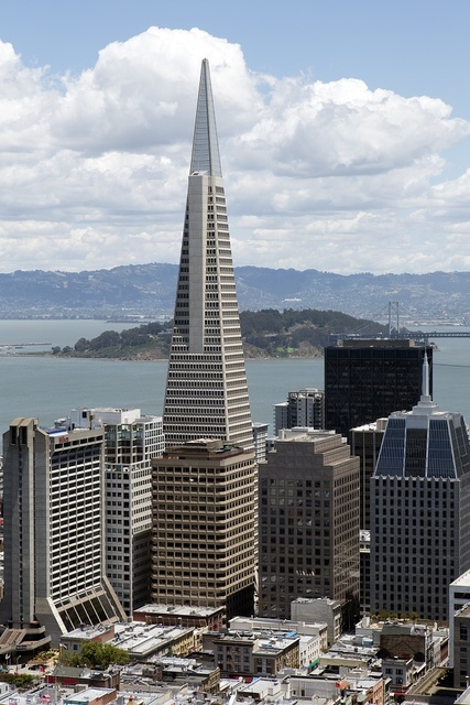 View of San Francisco from Mark Hopkins Intercontential Hotel on Nob Hill in San Francisco, California