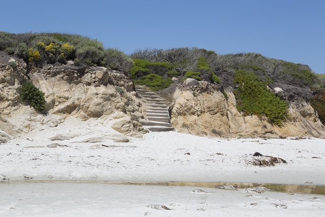 View of steps to beach near 17-Mile Drive, a scenic road through Pacific Grove and Pebble Beach on the Monterey Peninsula in California