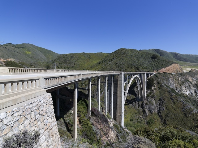 View with bridge, Pacific Coast Highway, Scenic State Route 1, a major north-south state highway that runs along most of the Pacific coastline of California