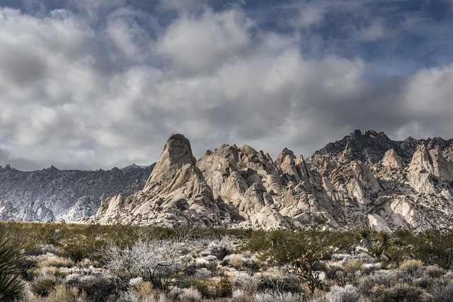 Views of the Providence Mountains from the desert floor in the Mojave National Preserve in southwestern California