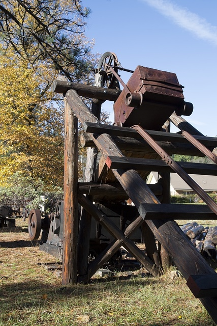 Vintage mining equipment, part of a local landowner's display of old-time vehicles and mining gear near the settlement of Bangor, south of Oroville in Butte County, California