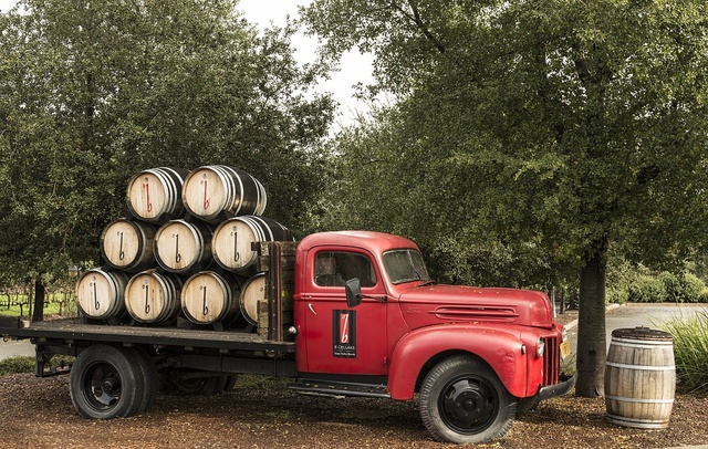 Vintage truck carrying wine casks at the B Cellars Winery in California's Napa Valley
