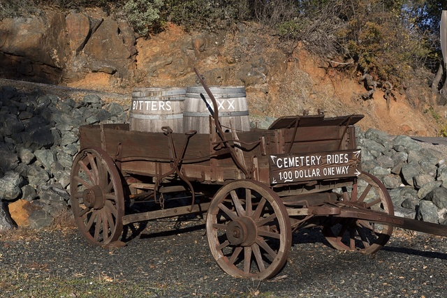 """Wagon """"Cemetery Rides"""" in Rough and Ready, a small settlement near Grass Valley, California"""