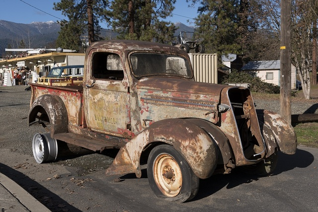 What's left of an old jalopy in Weaverville, a popular tourist destination in the Whiskeytown-Shasta National Recreation Area, northwest of Redding, California