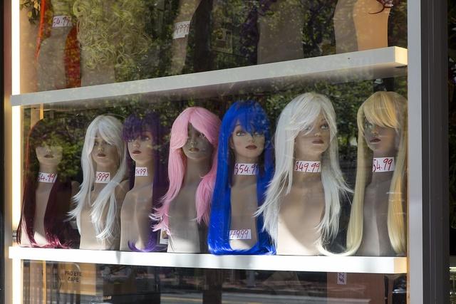 Wig shop on Market Street in San Francisco, California