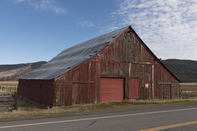 Wooden barn along the road in Northern California