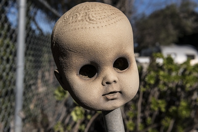 A doll's head at Grandma Prisbrey's Bottle Village in Simi Valley, California
