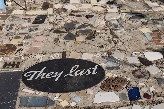 A portion of the mosaic sidewalk that winds through Grandma Prisbrey's Bottle Village in Simi Valley, California