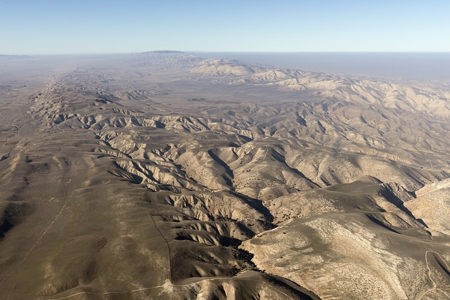Aerial view of a portion of the San Andreas fault in California's Sierra Madre Mountains, midway between Bakersfield and Santa Barbara