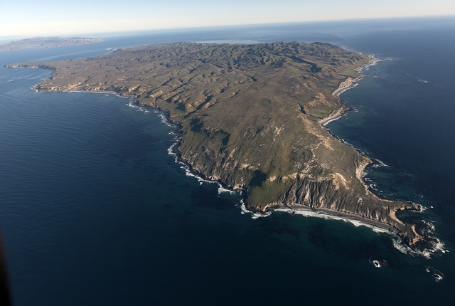 Aerial view of Santa Cruz Island, one of eight islands in the Channel Islands archipelago located in Santa Barbara Channel of the Pacific Ocean off the coast of Southern California