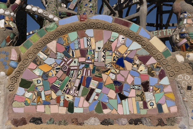 Artwork at the Watts Towers, a collection of structures and art in the low-income Watts section of Los Angeles, California