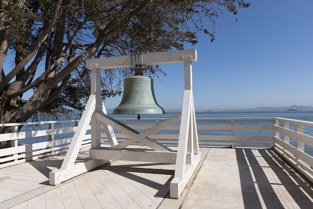 Bell on Angel Island, an island in San Francisco Bay that offers expansive views of the San Francisco skyline, the Marin County Headlands and Mount Tamalpais