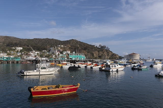 Boats in Avalon harbor on Santa Catalina Island, a rocky island off the coast of California