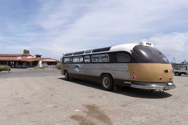 Bus at Airport on Santa Catalina Island, a rocky island off the coast of California