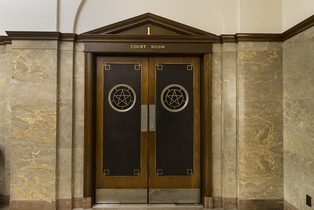 Courtroom doors. The Jack Brooks Federal Building in Beaumont, Texas