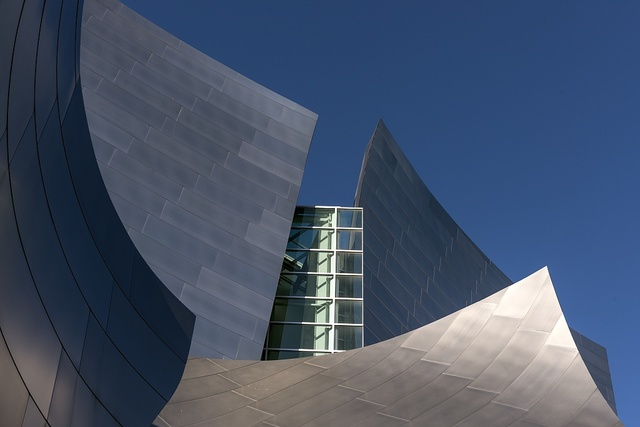 Detail of the Walt Disney Center Concert Hall in downtown Los Angeles, California