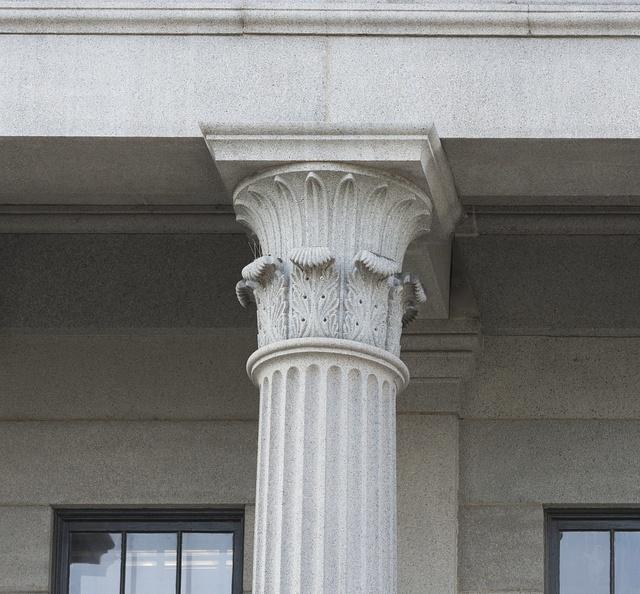 Exterior column detail. U.S. Custom House, East Bay and Bull Streets, Savannah, Georgia