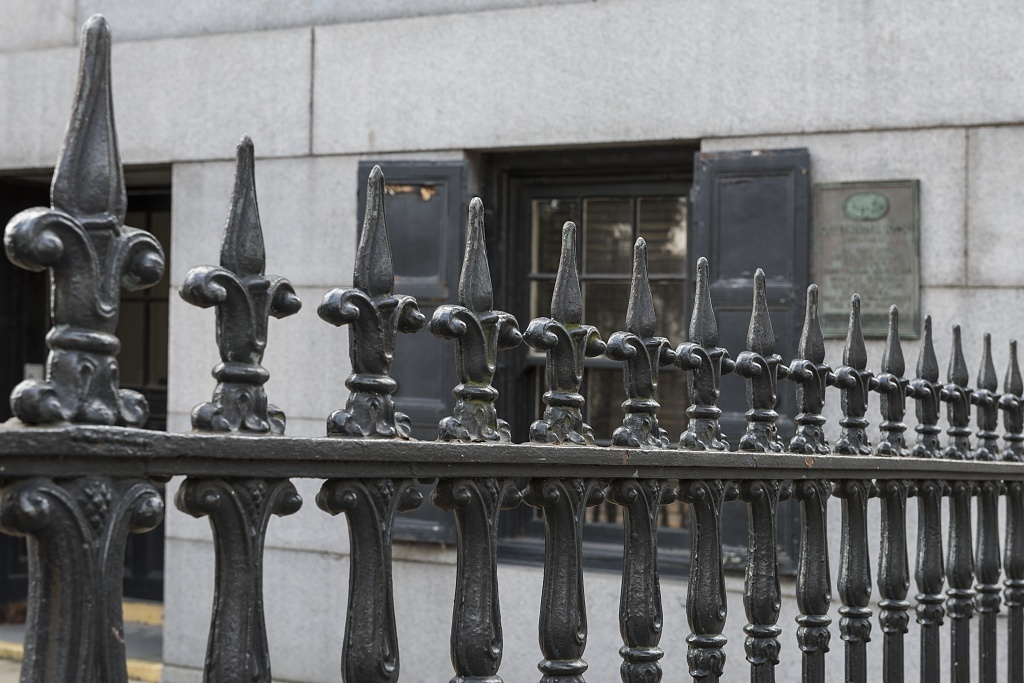 Exterior fence detail. U.S. Custom House, East Bay and Bull Streets, Savannah, Georgia