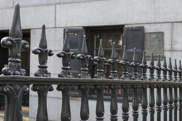 Exterior fence detail. U.S. Custom House, East Bay and Bull Streets, Savannah, Georgia