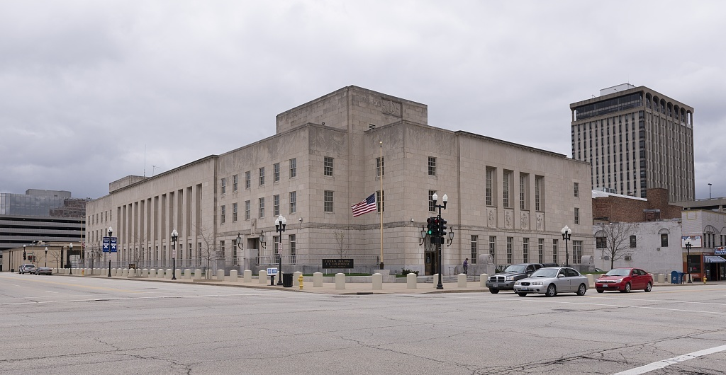 Exterior, street view of Federal Building and U.S. Court House, Peoria, Illinois