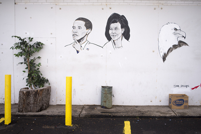 Fair, 6541 Gratiot, Obama and Michelle; mural by Sam Phillips