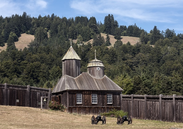Fort Ross, a former Russian establishment on the west coast of North America in what is now Sonoma County, California