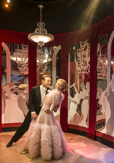 """Fred Astaire and Ginger Rogers figures """"dance"""" at Madame Tussaud's Wax Museum in the Hollywood section of Los Angeles, California"""