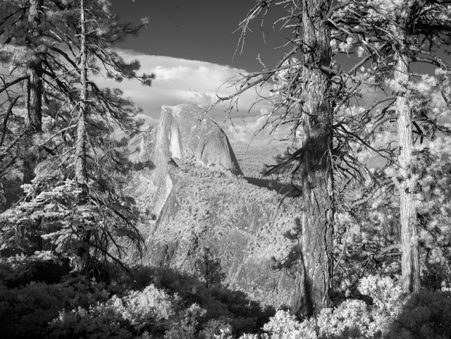 Half Dome formation. Yosemite National Park spans eastern portions of Tuolumne, Mariposa and Madera counties in California