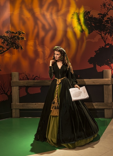 "Likeness of actress Vivien Leigh, in character as Scarlett O'Hara in the movie ""Gone With the Wind,"" at Madame Tussaud's Wax Museum in the Hollywood section of Los Angeles, California"