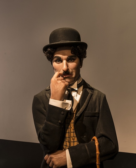 Likeness of silent film star Charlie Chaplin at Madame Tussaud's Wax Museum in the Hollywood section of Los Angeles, California