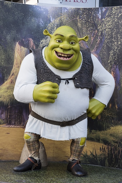 "Likeness of the animated movie character ""Shrek"" at Madame Tussaud's Wax Museum in the Hollywood section of Los Angeles, California"