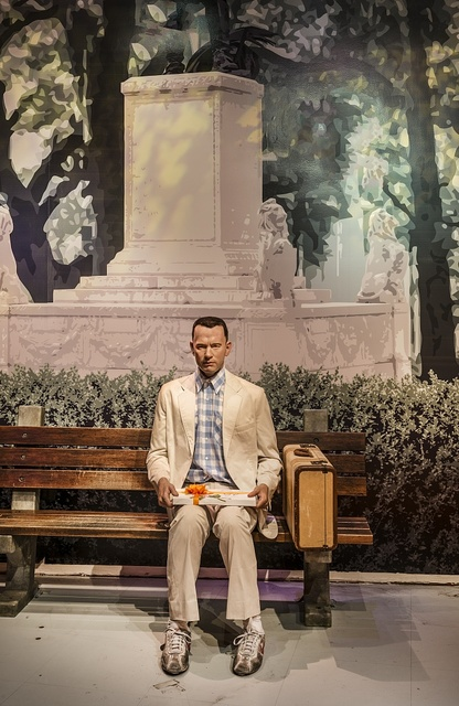 "Likeness of Tom Hanks sits at the famous bench from the movie ""Forrest Gump"" at Madame Tussaud's Wax Museum in the Hollywood section of Los Angeles, California"