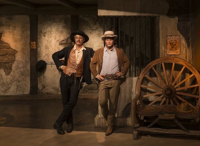 Likenesses of Paul Newman and Robert Redford in their roles as Butch Cassidy and the Sundance Kid in the movie of the same name, at Madame Tussaud's Wax Museum in the Hollywood section of Los Angeles, California