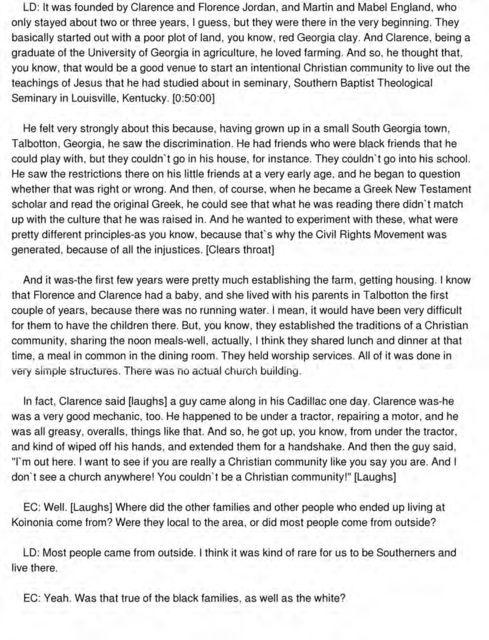 Linda Fuller Degelmann interview conducted by Emilye Crosby in Americus, Georgia, 2013-05-28.
