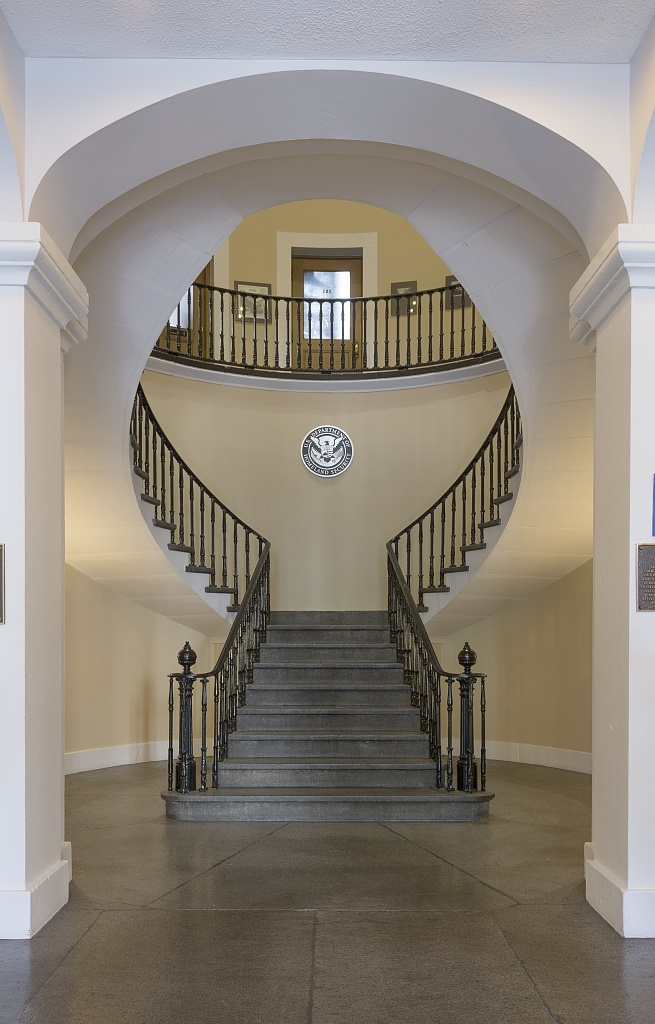Lobby and stairway. U.S. Custom House, East Bay and Bull Streets, Savannah, Georgia
