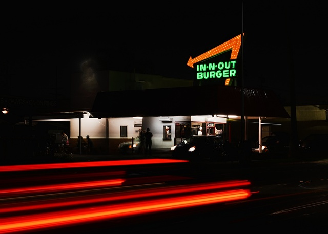 Neon sign of the In-Out Burger fast-food chain in Pasadena, California