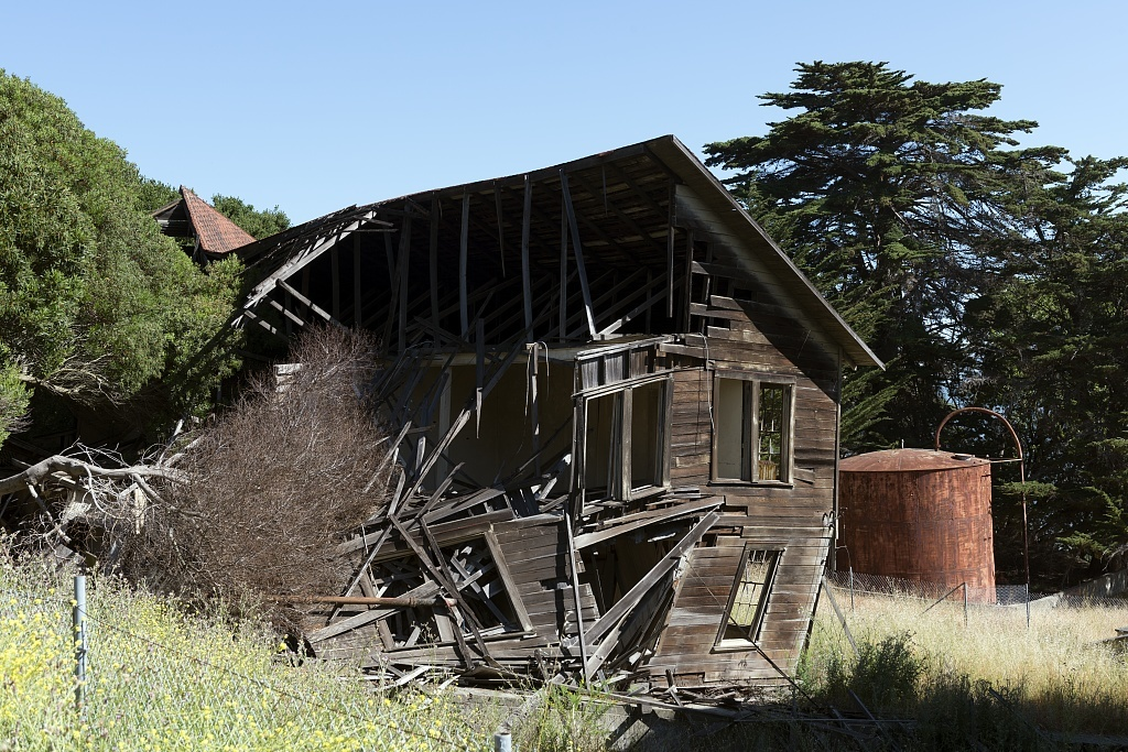 Old building on Angel Island, an island in San Francisco Bay that offers expansive views of the San Francisco skyline, the Marin County Headlands and Mount Tamalpais