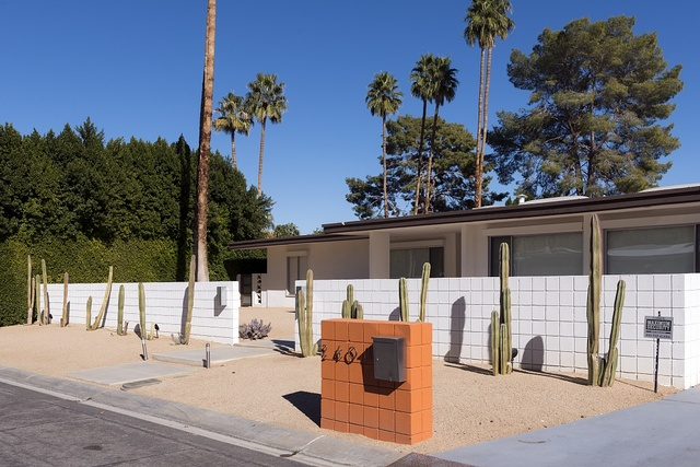 One of hundreds of one-story, modernist-style homes in Palm Springs, California
