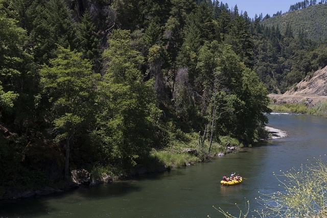 Rafters on the Trinity River in the southern Klamath Mountains. California
